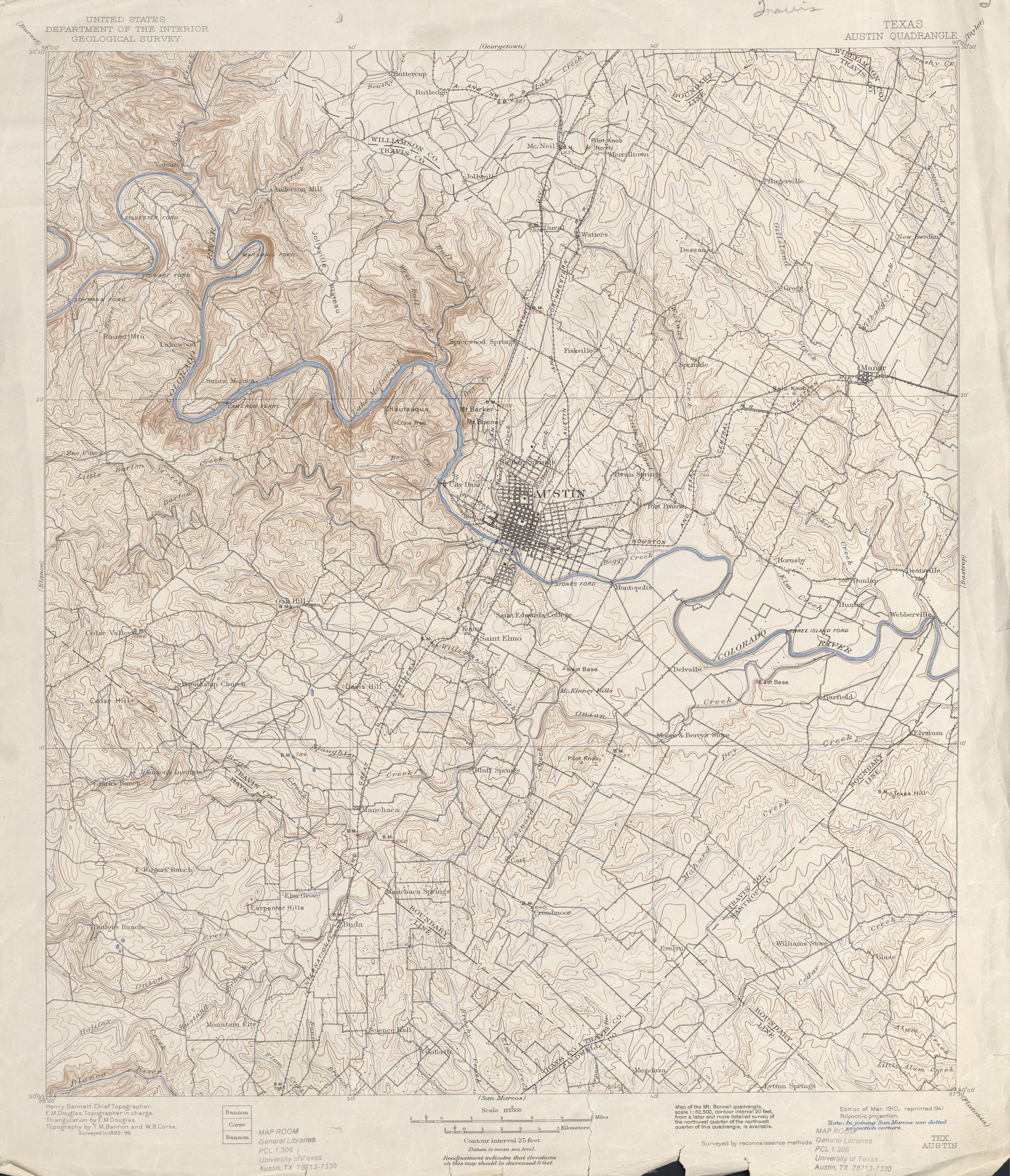 1910 USGS topographic map - Austin