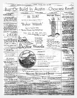 Advertisement for Bryker Woods & Pemberton Heights Neighborhoods from the Austin American Statesman 1939
